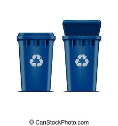 Vector Blue Recycle Bin for Trash and Garbage Isolated on...