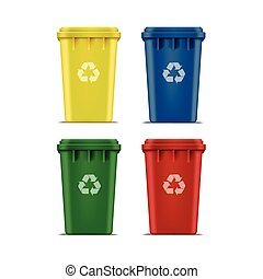 Vector Set of Recycle Bins for Trash and Garbage Isolated on White Background
