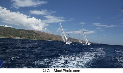 Sailing race. Yachting. Luxury boat traveling on...