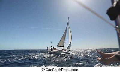 Romantic sailboat at sea cruise.