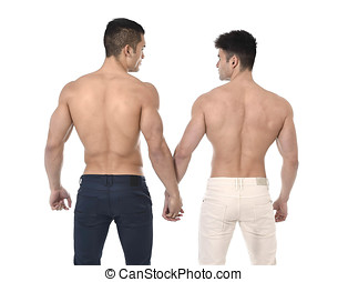 naked torso young gay couple holding hands showing strong...