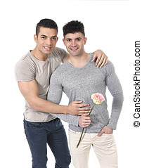 gay couple of homosexual young strong men in love on...