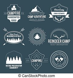 Camping icons - Set of vintage camping and outdoor activity...