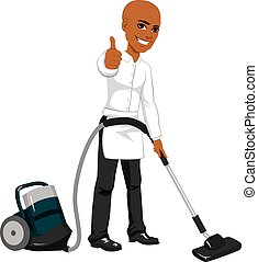 Hotel Service Worker Vacuum Cleaner - African American male...
