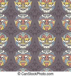 Tribal Seamless Pattern - Tribal mask seamless pattern...