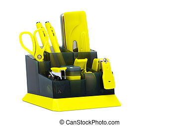 yellow desk organizer on a white background