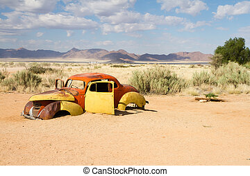 Solitaire, Namibia - Abandoned car near a service station at...