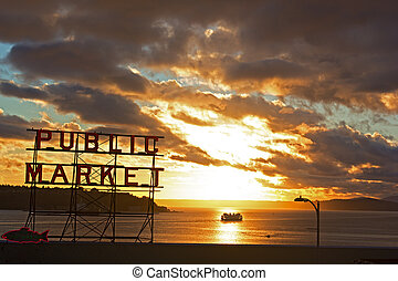 Scenic sunset near Seattle public market Sunset over the...