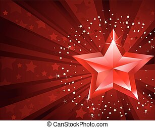 red pure star with the decorated stars by rays on a dark...