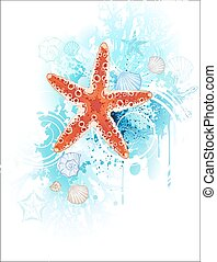red starfish - artistically painted red starfish with sea...
