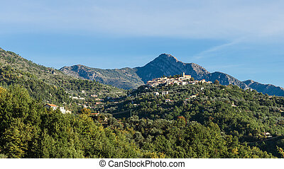 Old medieval town Coaraze in the mountains , Provence Alpes...
