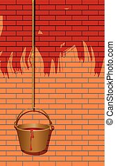 Paint the walls in red - Bucket of paint on the rope,...