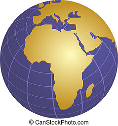Globe Africa - Globe map illustration of Africa middle east...