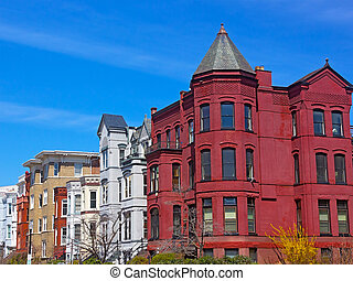 Historic Washington DC rowhouses in spring. Rowhouses behind...