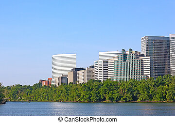 City skyscrapers in Rosslyn, Virginia Potomac waterfront...