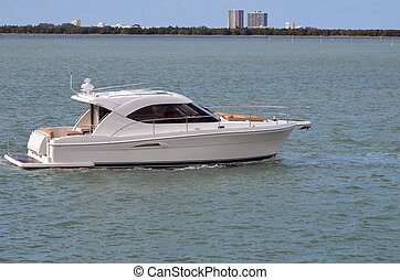 White Cabin Cruiser - A white cabin cruiser on the florida...