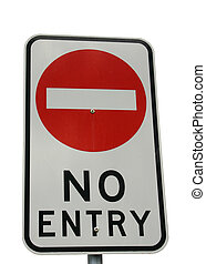 A no entry sign isolated on white