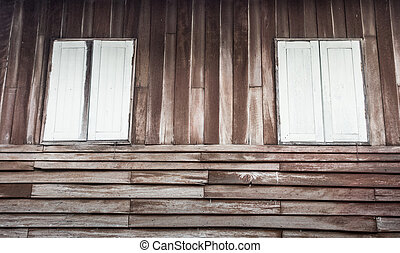 Grunge wooden window ,Tropical house, Spotted wood wall -...