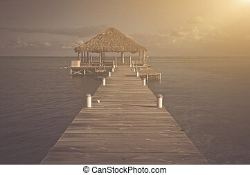 Vintage Beach Deck with Palapa floating in the water