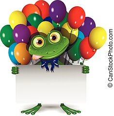 Frog and Balloons - Illustration Frog With a White...