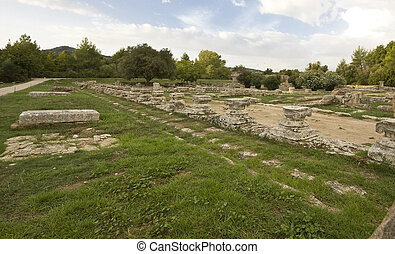 Leonidaion ancient construction located at Olympia, Greece