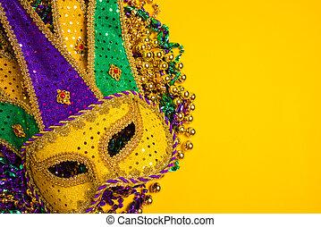 mardi,  gras, máscara, fundo, amarela
