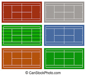 Set of different tennis courts - Illustration of different...