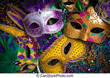 Mardi Gras Masks with beads