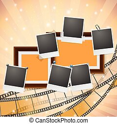 frames and photos with retro filmstrip composition