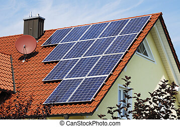 Alternative energy - House roor with solar panels...