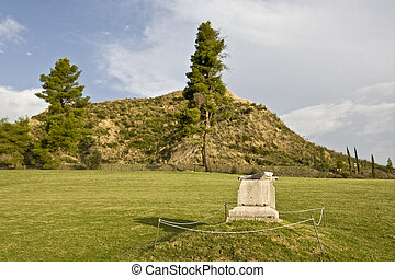 Kronios hill at ancient Olympia, Greece ancient stadium...