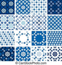 Set of seamless patterns - blue floral ornament