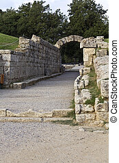 Main entrance at ancient Olympia stadium in Greece