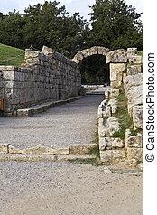 principal, entrada, antiguo, Olympia, estadio, grecia
