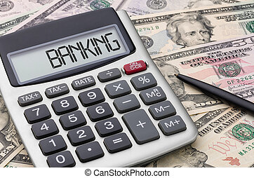 Dinheiro, calculadora,  -, operação bancária