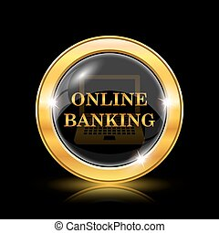 Online banking icon. Internet button on black background....