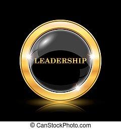 Leadership icon. Internet button on black background. EPS10...