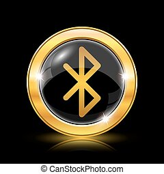 Bluetooth icon. Internet button on black background. EPS10...