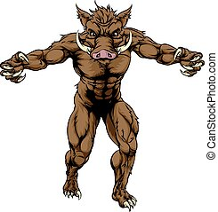 Boar mascot - An illustration of a boar sports character...