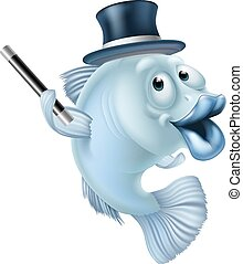 Magic fish cartoon or a fish mascot character in a magicians...