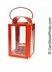 Red Lantern With Glowing Candlestick - Red Vintage Lantern...