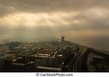Chiba city with sunny and clouds at Japan.