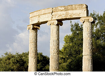 The Philippeion building remains at ancient Olimpia...