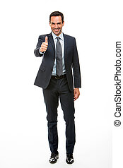 Full length portrait of a businessman smiling and giving ok...