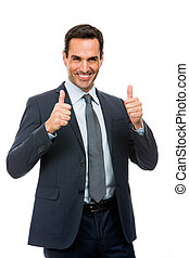 Half length portrait of a businessman smiling and giving ok...