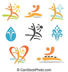 Spa massage nudism icons - Set of colorful icons of massage,...