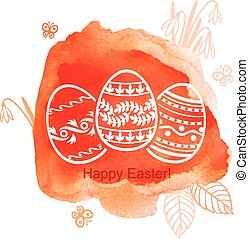 Decorative Easter watercolor background with eggs
