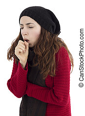 Woman coughing - Adult caucasian sick woman coughing because...