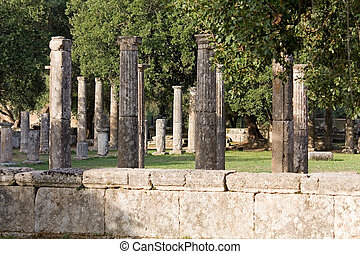Palaistra or fighting arena remains at ancient Olympia in Greece