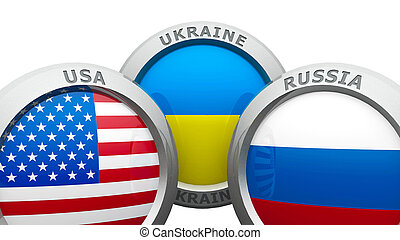 onfrontation USA UA RU - Emblems USA, Ukraine and Russia are...